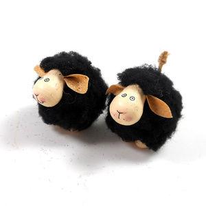 Mini Yarn Black Sheep Ornaments Set of 2